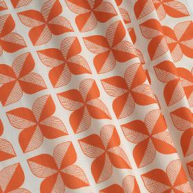 Rosette Tile - Rosette Tile - Groups of four solid and striped leaves printed repeatedly on 100% cotton fabric made in white and vibrant ora