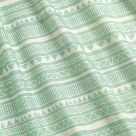 Granada - Granada - Mint and white coloured triangles and stripes printed in rows on fabric made from 100% cotton