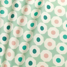 Norsk - Norsk - Emerald green, turquoise and baby pink circles printed with white octagons on mint coloured 100% cotton fabric