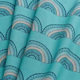 Horseshoe Arch - Teal - 100% cotton fabric made in bright sky blue, printed with rows of patterned hemispheres in black and baby pink