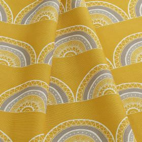Horseshoe Arch - Yellow - Fabric made from white, pumpkin orange and lavender coloured 100% cotton, printed with rows of patterned hemispher