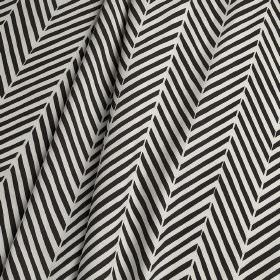 Agra - Agra - Short diagonal lines making up a fun herringbone style design printed on 100% cotton fabric in pale grey, black & white
