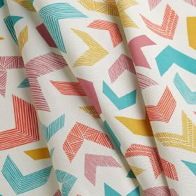 Chevrons - Chevrons - Patterned chevrons in bright aqua blue, coral, cherry and orange colours scattered on 100% cotton fabric in white