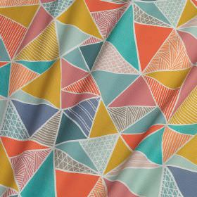Tress - Multi - White 100% cotton fabric covered with patterned triangles in bright shades of blue, gold, coral and pink