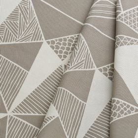 Tress - Grey - Folds of fabric made from 100% cotton in cement grey and pale cloud grey, covered with a patterned triangle design
