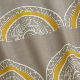 Large Horseshoe Arch - Large Horseshoe Arch - Patterned hemispheres printed in white and mustard yellow on a dove grey 100% cotton fabric ba