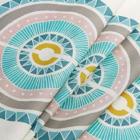 Inlay - Inlay - Light, bright shades of aqua blue, pink, gold & grey making up a patterned hemisphere design on white 100% cotton fabric