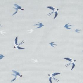 Swallow Birds - Pale Blue - Blue and white swallows printed on very pale grey 100% cotton fabric