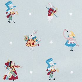 Alice - In-Wonderland - Alice in Wonderland themed 100% cotton fabric, with girls, rabbits, flamingoes, the Queen of hearts and the Mad Hatt