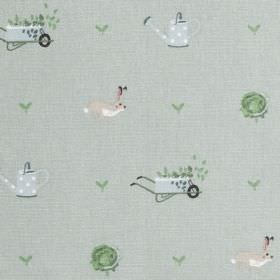 Gardening - Green - Gardening themed 100% cotton fabric in grey, green and beige shades with wheelbarrow, hare and watering can designs