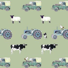 On The Farm - Green - Cows, sheep, Land Rovers and tractors printed on 100% cotton fabric in white, black, light blue-green and shades of bl