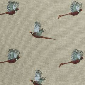 Pheasant - Stone Green - Images of richly coloured pheasants flying in rows across a background of fabric made from 100% cotton in plain gre