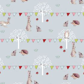 Woodland - Party - 100% cotton fabric inlight blue, printed with multicoloured bunting, white trees and light grey bunnies and hedgehogs