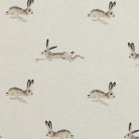 Hare - Neutral Stone - Fabric made from 100% cotton, printed with rows ofsprinting hares, made in various different light shades of grey