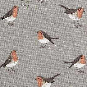 Robin & Mistletoe - Grey - Dark grey 100% cotton fabric printed with robins in white, dark cocoa brown and a light shade of red