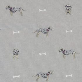 Terrier - White Bones - Grey and beige puppies facing forwards and the side, arranged in rows with small white bones, on grey 100% cotton fa
