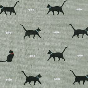 Cat - Black - Small white fish skeletons and black cats on a mid grey 100% cotton fabric background
