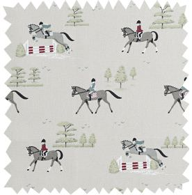 Horses - Pale Stone - Equestrian themed 100% cotton fabric printed with trees and showjumping horses in burgundy, white and shades of grey