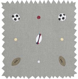 Balls - Slate Grey - Grey 100% cotton fabric printed with sport balls, rugby balls, footballs & soccer balls in grey, white, cream & dark re