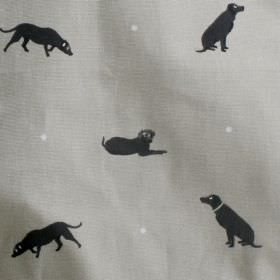 Labrador - Black - 100% cotton fabric in grey, printed with black silhouettes of dogs and tiny white dots