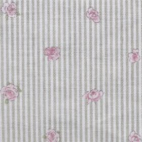 Rose - Grey Ticking Stripe - Small light pink flowers scattered over 100% cotton fabric with a simple grey and white striped design