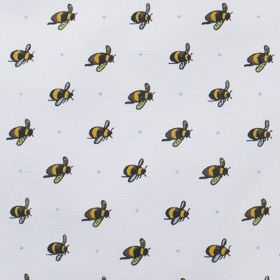 Busy Bee - Pale Blue - Black and yellow bees printed in rows on 100% cotton fabric in such a pale shade of grey that it is almost white