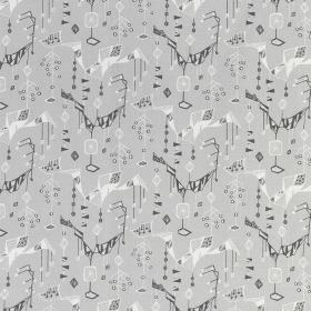 Treehouse - Grey Grey - Linen fabric in two different shades of grey and white, with a repeated, random geometric shape print