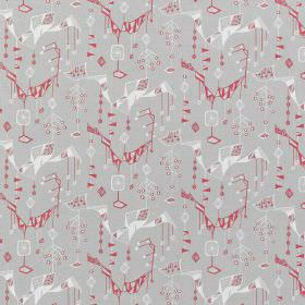 Treehouse - Grey Faded-Red - Random geometric shapes in red and white printed as a repeated design over light grey coloured linen fabric