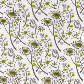 Hedgerow - Grey Green - White cotton fabric printed with a repeated pattern of dandelions and berries in shades of light green and grey