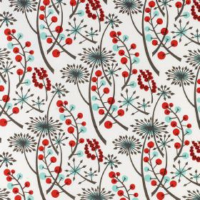 Hedgerow - Bright Red-Blue - Dandelions and berries printed in shades of blue, grey and red on a white linen fabric background