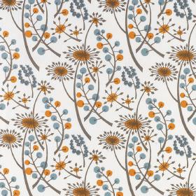 Hedgerow - Orange Blue - Fabric made from white cotton, with an orange, grey and dusky blue coloured repeated pattern of dandelions and berr