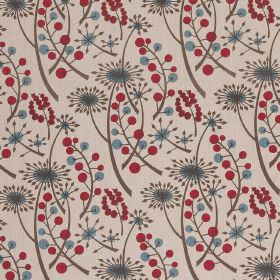 Hedgerow - Cherry Blue - Shades of dusky blue, grey and dark red-pink making up a pattern of dandelions and berries for this cream cotton fa