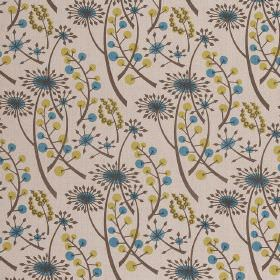 Hedgerow - Olive Blue - Cotton fabric in cream-grey, with light blue and green dandelions and berries printed repeatedly over it