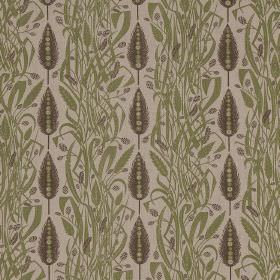 Meadows Edge - Green Charcoal - Very pale grey linen fabric printed with vertical rows of large, grey leaves, and sections of tangled light