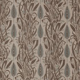 Meadows Edge - Charcoal Dawn-Grey - Two styles of leaves printed in grey and brown in vertical rows on very pale grey-brown fabric made from