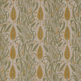 Meadows Edge - Green Mustard - Tangled green leaves arranged in rows between vertical rows of golden wheat sheafs on linen fabric in a pale