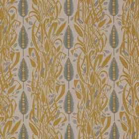 Meadows Edge - Mustard Dawn-Grey - Linen fabric in very light grey, with a pattern of dusky blue-grey wheat sheafs and rows of tangled gold