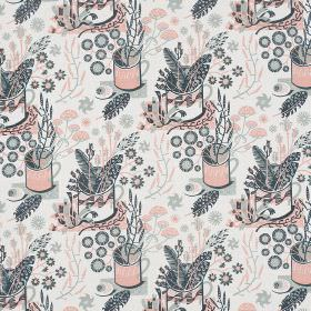 Nature Table - Paynes Grey-Rose - White linen fabric, repeatedly printed with pastel blue and pink coloured mugs, flowers and leaves