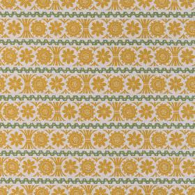 Stellar - Mustard Green - Straight and geometric dark green lines between rows of yellow-orange coloured flower shapes on linen fabric in wh