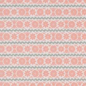 Stellar - Pink Grey - White, light pink and grey coloured linen fabric, with horizontal stripes and rows of shapes which resemble flowers