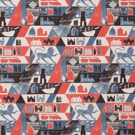 Lionheart - Pillar Box-Red-Dark-Indigo - Linen fabric printed with red, blue, black and white castles, lions, trains, boats, buildings and g