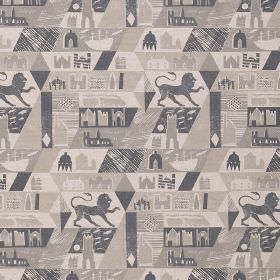 Lionheart - Grey Grey - Lions, castles, boats and geometric shapes printed in several different shades of cream & grey on fabric made from l