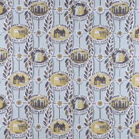 Painswick - Dark Umber-Pale-Blue - Linen fabric printed with small ovals filled with images of buildings in greens and blues with stripes &