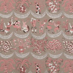 Forest Jig - Grey Pink - Pink, grey, black and white making up a flower, people, garland and palm tree pattern for this grey-brown linen fab