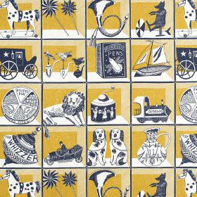 Curiosity Shop - Dark Blue-Mustard - Navy blue and white ornaments such as spinning tops, boats, horns, carriages and more, on linen fabric