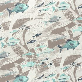 Deep Sea - Aqua Smoke-Grey - Cotton fabric printed with light, aqua blue coloured fish on a background of white and light brown sweeping wav