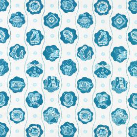 The Captains Pattern - Blue Blue - Bright blue images and patterns in cloud shapes, printed in rows with wavy lines on a white cotton fabric