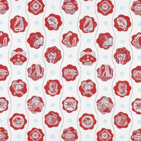 The Captains Pattern - Red Blue - White cotton fabric printed with light blue wavy lines and rows of red cloud shapes which contain images a