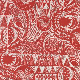 Bird Garden - Red - Tomato red and white birds, trees and geometric shapes printed as a pattern on fabric made from linen