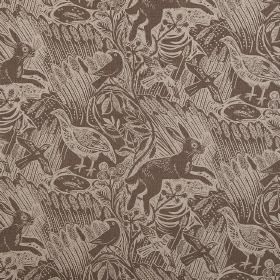 Harvest Hare - Charcoal - Birds, hares and long grass in a light and a dark shade of brown printed as a pattern on fabric made from linen